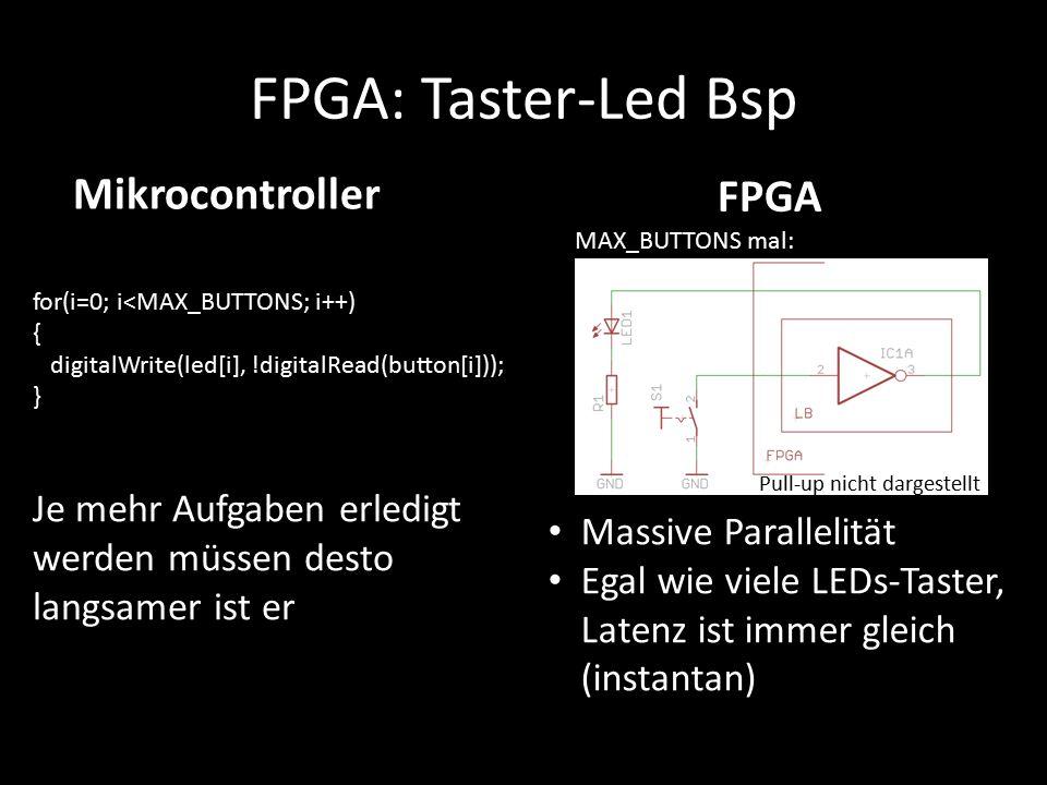 FPGA: Taster-Led Bsp for(i=0; i<MAX_BUTTONS; i++) { digitalWrite(led[i], !digitalRead(button[i])); } Je mehr Aufgaben erledigt werden müssen desto lan