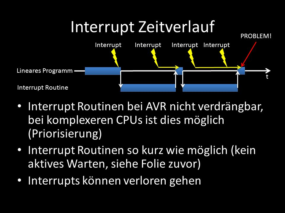 Interrupt Zeitverlauf Interrupt Routinen bei AVR nicht verdrängbar, bei komplexeren CPUs ist dies möglich (Priorisierung) Interrupt Routinen so kurz w
