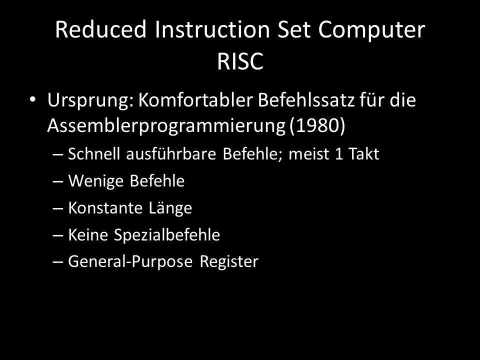 Reduced Instruction Set Computer RISC Ursprung: Komfortabler Befehlssatz für die Assemblerprogrammierung (1980) – Schnell ausführbare Befehle; meist 1