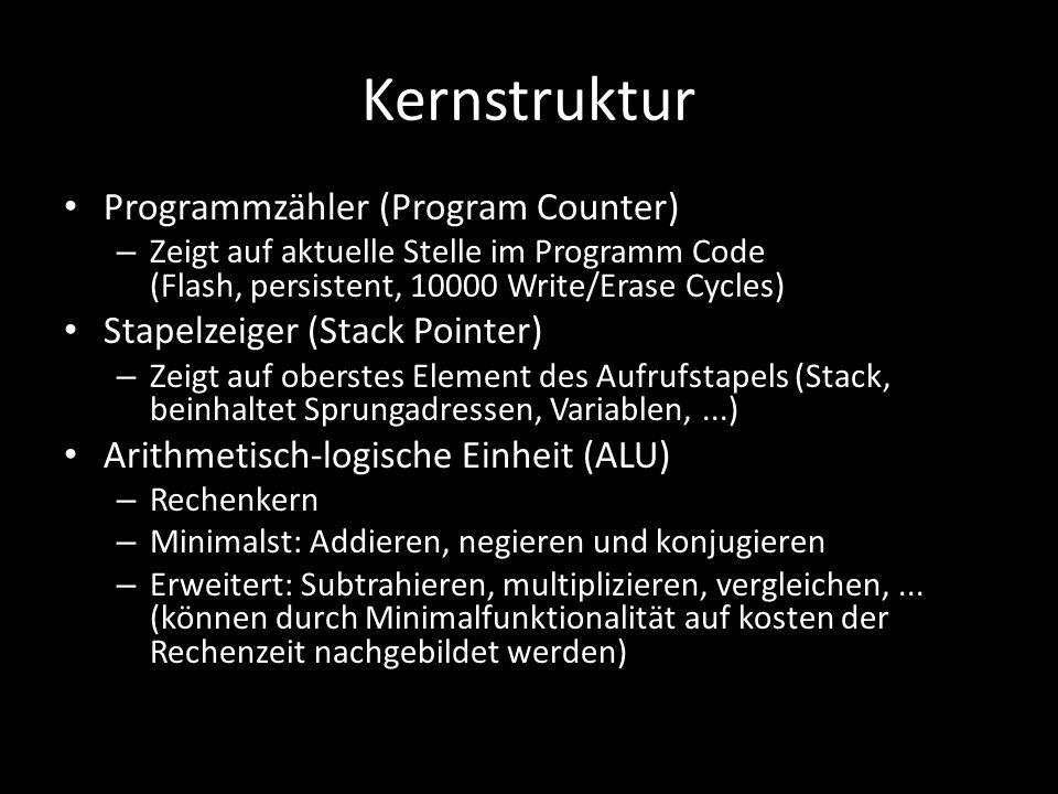Kernstruktur Programmzähler (Program Counter) – Zeigt auf aktuelle Stelle im Programm Code (Flash, persistent, 10000 Write/Erase Cycles) Stapelzeiger