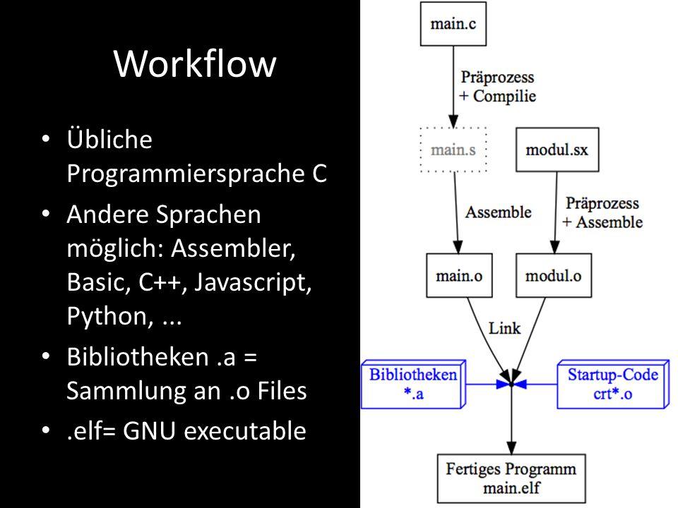 Workflow Übliche Programmiersprache C Andere Sprachen möglich: Assembler, Basic, C++, Javascript, Python,... Bibliotheken.a = Sammlung an.o Files.elf=