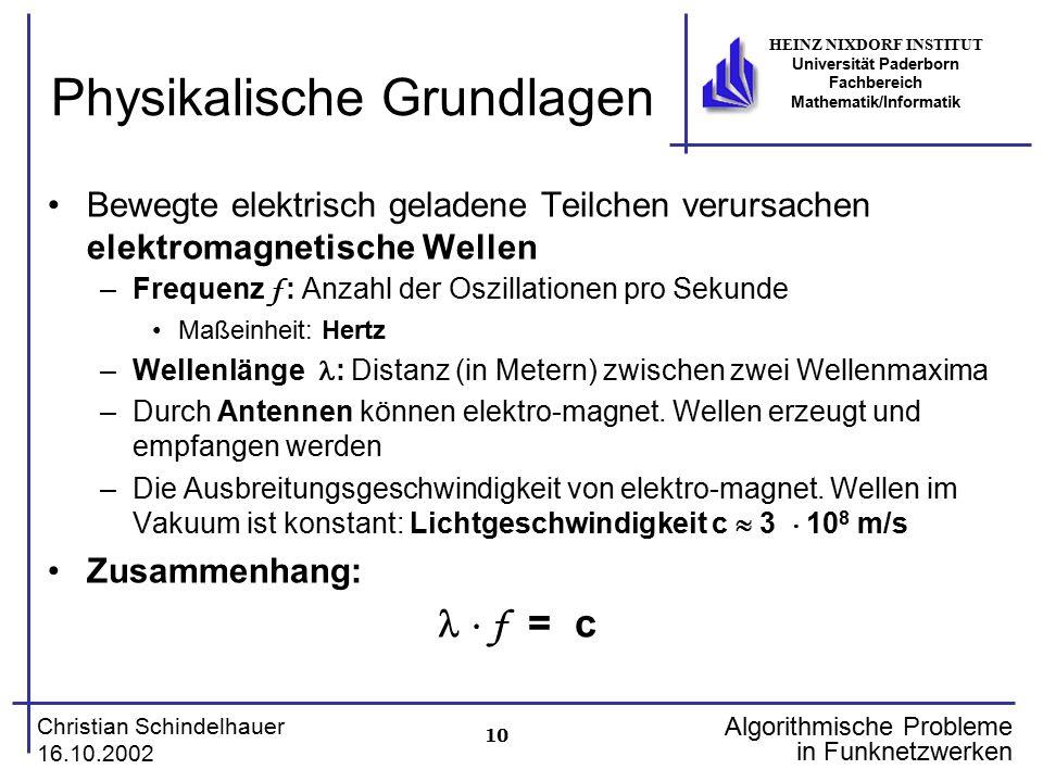 10 Christian Schindelhauer 16.10.2002 HEINZ NIXDORF INSTITUT Universität Paderborn Fachbereich Mathematik/Informatik Algorithmische Probleme in Funkne