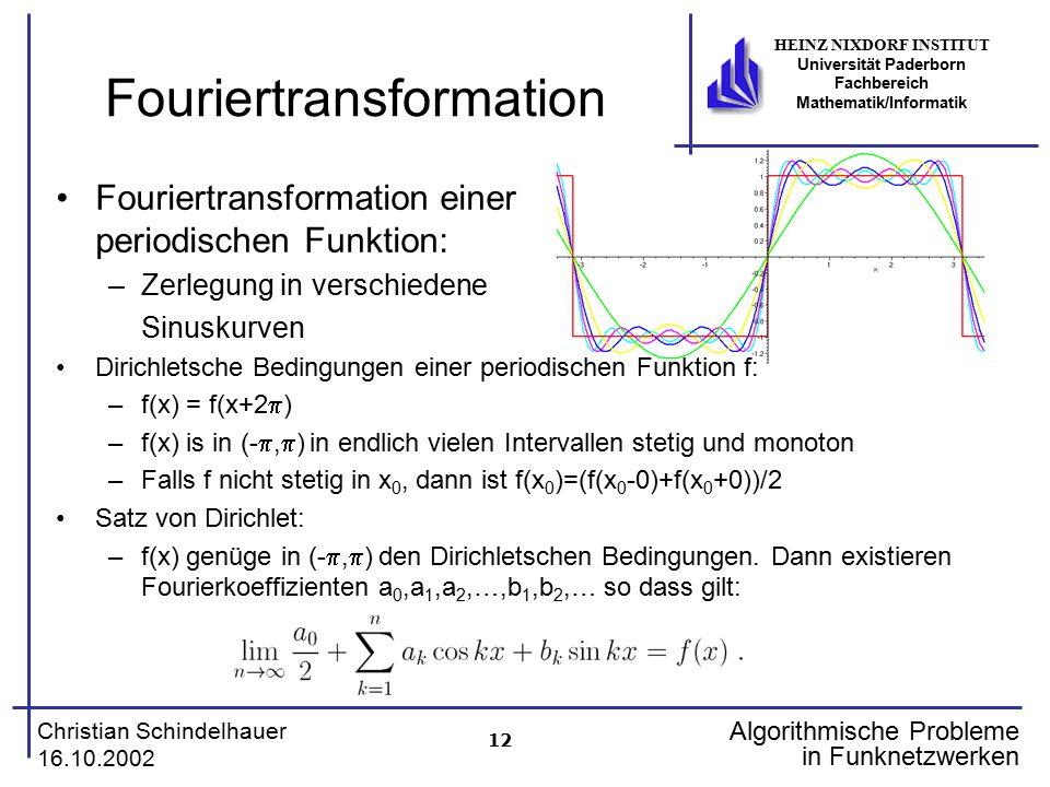 12 Christian Schindelhauer 16.10.2002 HEINZ NIXDORF INSTITUT Universität Paderborn Fachbereich Mathematik/Informatik Algorithmische Probleme in Funkne