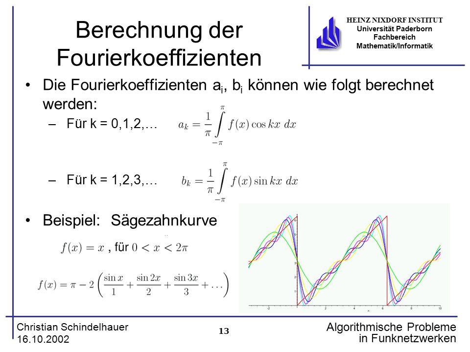 13 Christian Schindelhauer 16.10.2002 HEINZ NIXDORF INSTITUT Universität Paderborn Fachbereich Mathematik/Informatik Algorithmische Probleme in Funkne