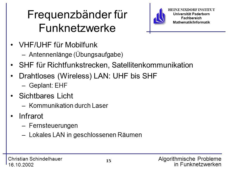 15 Christian Schindelhauer 16.10.2002 HEINZ NIXDORF INSTITUT Universität Paderborn Fachbereich Mathematik/Informatik Algorithmische Probleme in Funkne