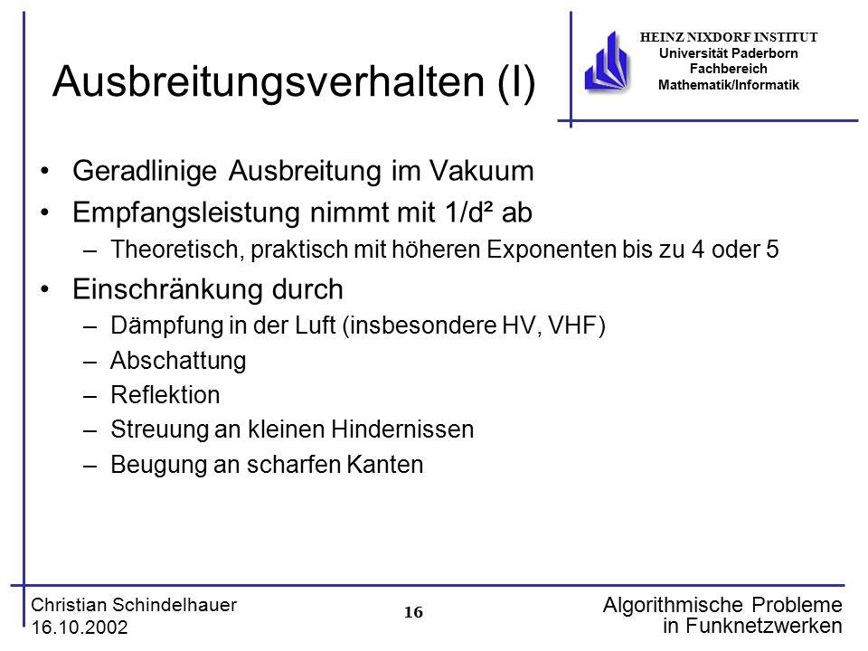 16 Christian Schindelhauer 16.10.2002 HEINZ NIXDORF INSTITUT Universität Paderborn Fachbereich Mathematik/Informatik Algorithmische Probleme in Funkne