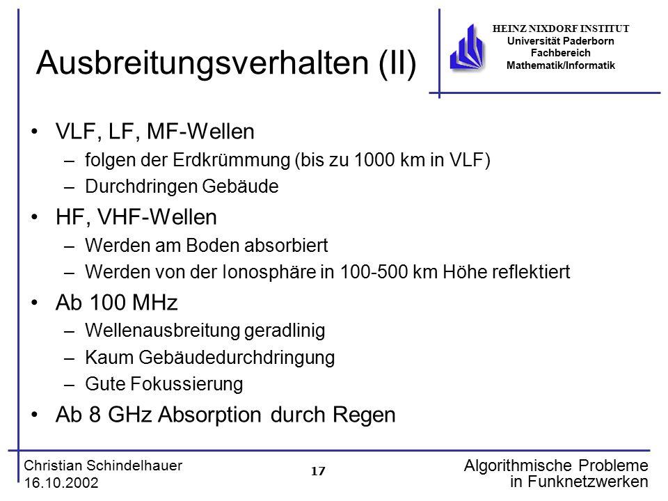 17 Christian Schindelhauer 16.10.2002 HEINZ NIXDORF INSTITUT Universität Paderborn Fachbereich Mathematik/Informatik Algorithmische Probleme in Funkne