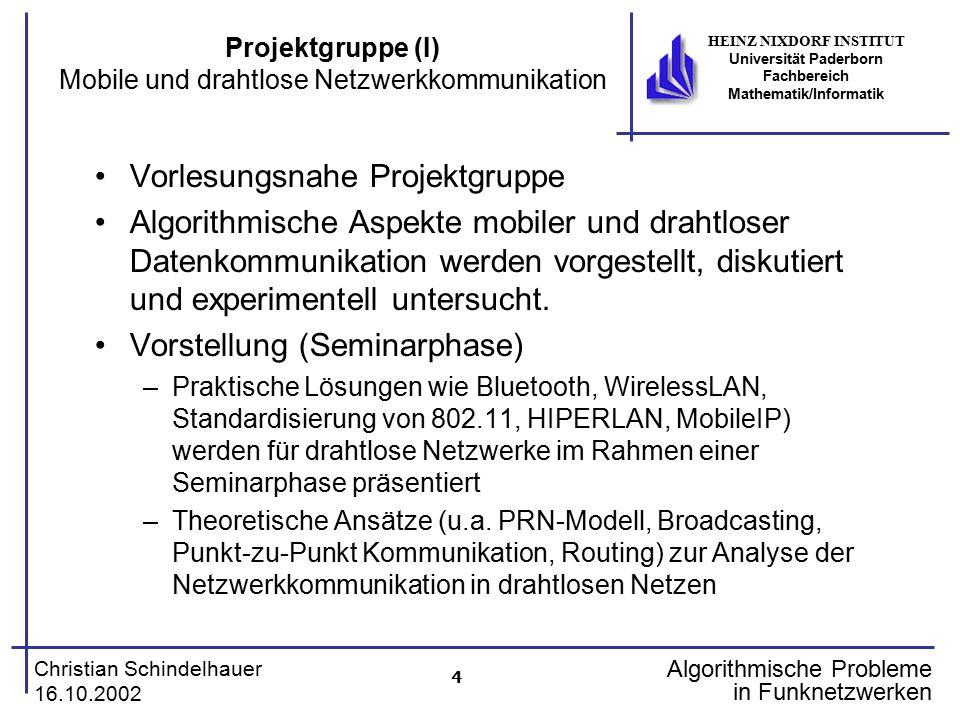 4 Christian Schindelhauer 16.10.2002 HEINZ NIXDORF INSTITUT Universität Paderborn Fachbereich Mathematik/Informatik Algorithmische Probleme in Funknet