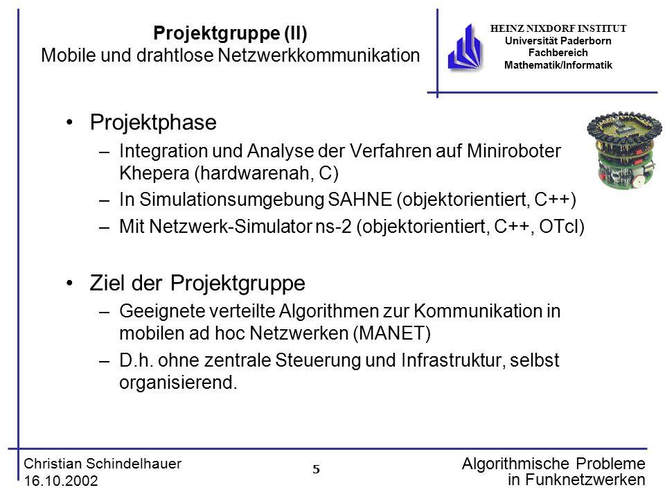 5 Christian Schindelhauer 16.10.2002 HEINZ NIXDORF INSTITUT Universität Paderborn Fachbereich Mathematik/Informatik Algorithmische Probleme in Funknet
