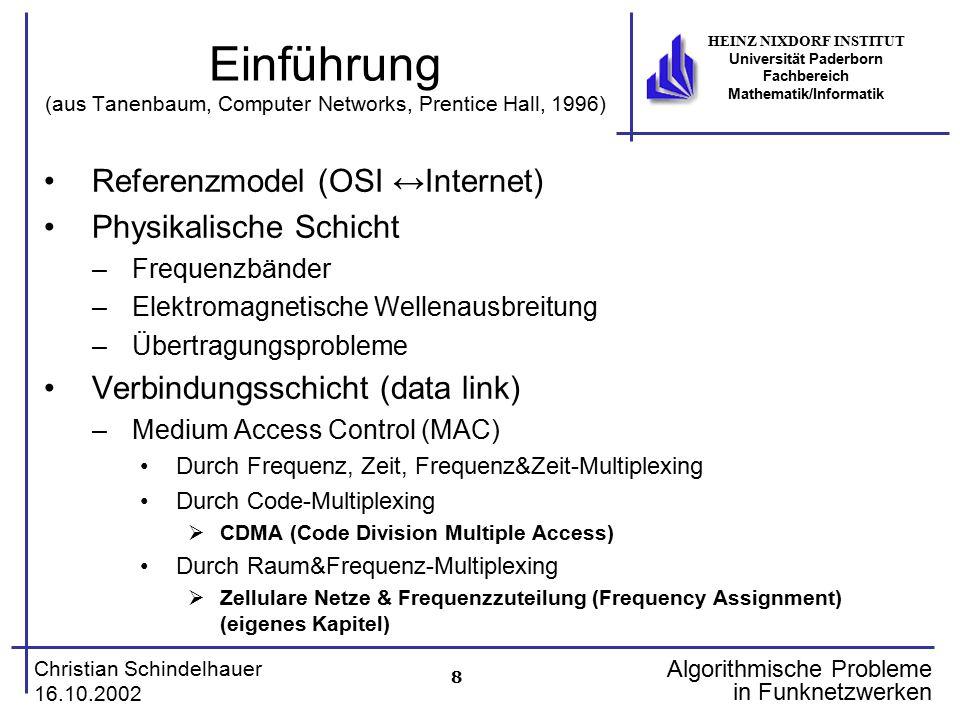 8 Christian Schindelhauer 16.10.2002 HEINZ NIXDORF INSTITUT Universität Paderborn Fachbereich Mathematik/Informatik Algorithmische Probleme in Funknet