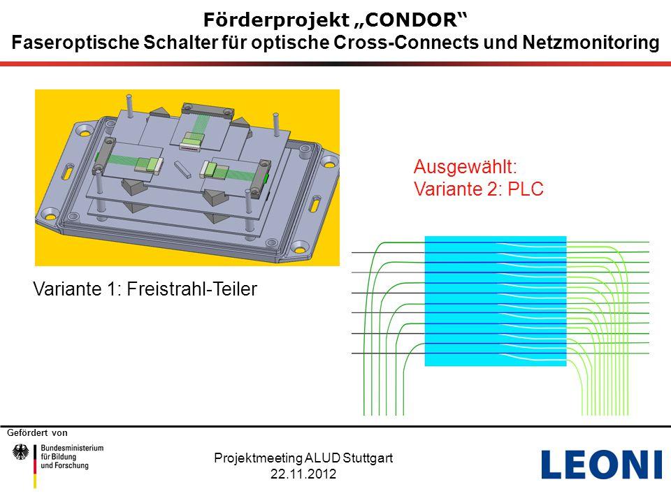 """Gefördert von 11 Förderprojekt """"CONDOR"""" Faseroptische Schalter für optische Cross-Connects und Netzmonitoring Variante 1: Freistrahl-Teiler Ausgewählt"""
