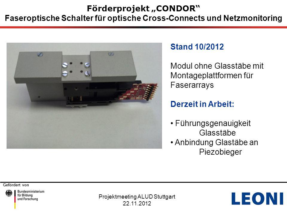 """Gefördert von Förderprojekt """"CONDOR"""" Faseroptische Schalter für optische Cross-Connects und Netzmonitoring Projektmeeting ALUD Stuttgart 22.11.2012 St"""