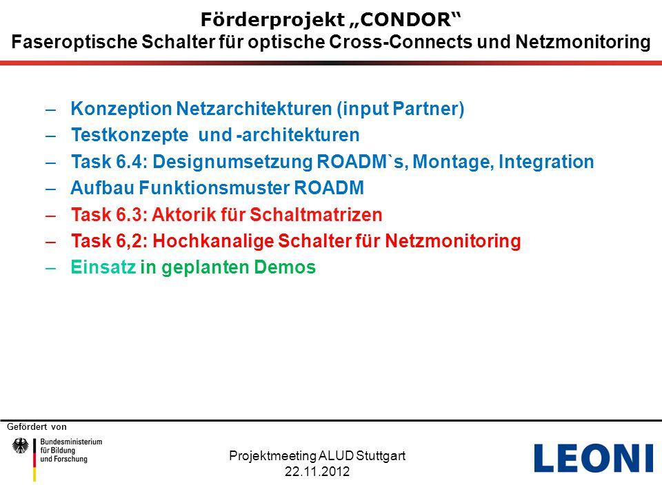 """Gefördert von Förderprojekt """"CONDOR"""" Faseroptische Schalter für optische Cross-Connects und Netzmonitoring –Konzeption Netzarchitekturen (input Partne"""