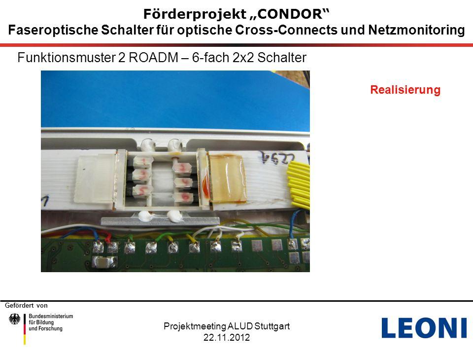 """Gefördert von Förderprojekt """"CONDOR"""" Faseroptische Schalter für optische Cross-Connects und Netzmonitoring Funktionsmuster 2 ROADM – 6-fach 2x2 Schalt"""