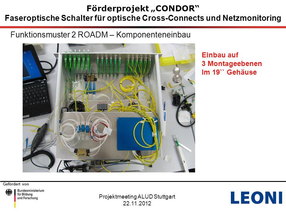 """Gefördert von Förderprojekt """"CONDOR"""" Faseroptische Schalter für optische Cross-Connects und Netzmonitoring Funktionsmuster 2 ROADM – Komponenteneinbau"""