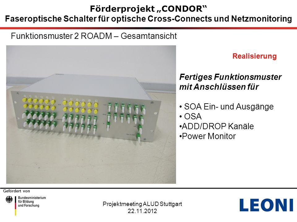 """Gefördert von Förderprojekt """"CONDOR"""" Faseroptische Schalter für optische Cross-Connects und Netzmonitoring Funktionsmuster 2 ROADM – Gesamtansicht Rea"""