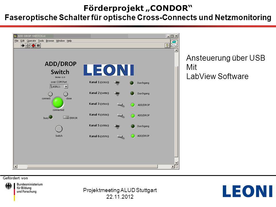 """Gefördert von Förderprojekt """"CONDOR"""" Faseroptische Schalter für optische Cross-Connects und Netzmonitoring Projektmeeting ALUD Stuttgart 22.11.2012 An"""