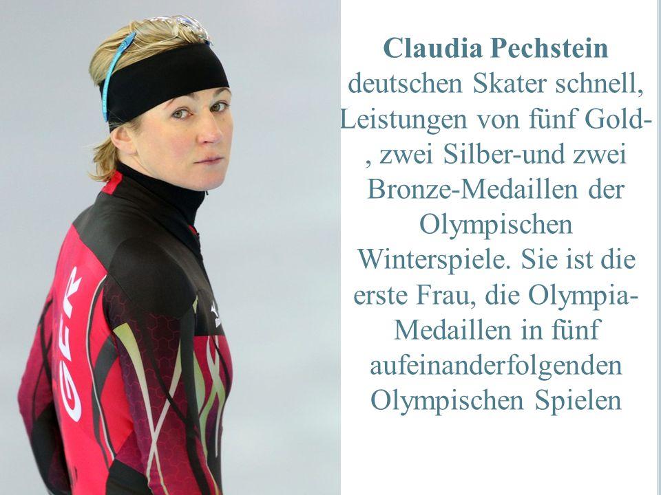 Claudia Pechstein deutschen Skater schnell, Leistungen von fünf Gold-, zwei Silber-und zwei Bronze-Medaillen der Olympischen Winterspiele. Sie ist die