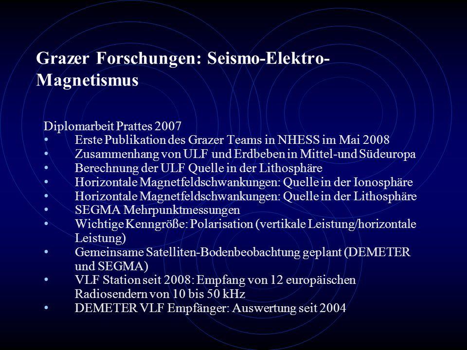 Grazer Forschungen: Seismo-Elektro- Magnetismus Diplomarbeit Prattes 2007 Erste Publikation des Grazer Teams in NHESS im Mai 2008 Zusammenhang von ULF