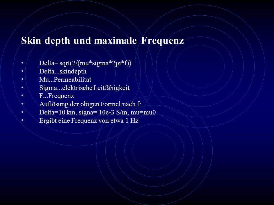 Skin depth und maximale Frequenz Delta= sqrt(2/(mu*sigma*2pi*f)) Delta...skindepth Mu...Permeabilität Sigma...elektrische Leitfähigkeit F...Frequenz A