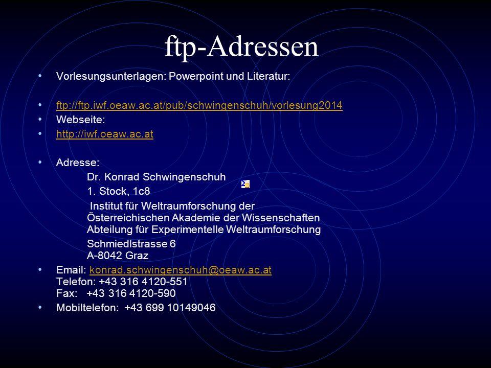 ftp-Adressen Vorlesungsunterlagen: Powerpoint und Literatur: ftp://ftp.iwf.oeaw.ac.at/pub/schwingenschuh/vorlesung2014 Webseite: http://iwf.oeaw.ac.at