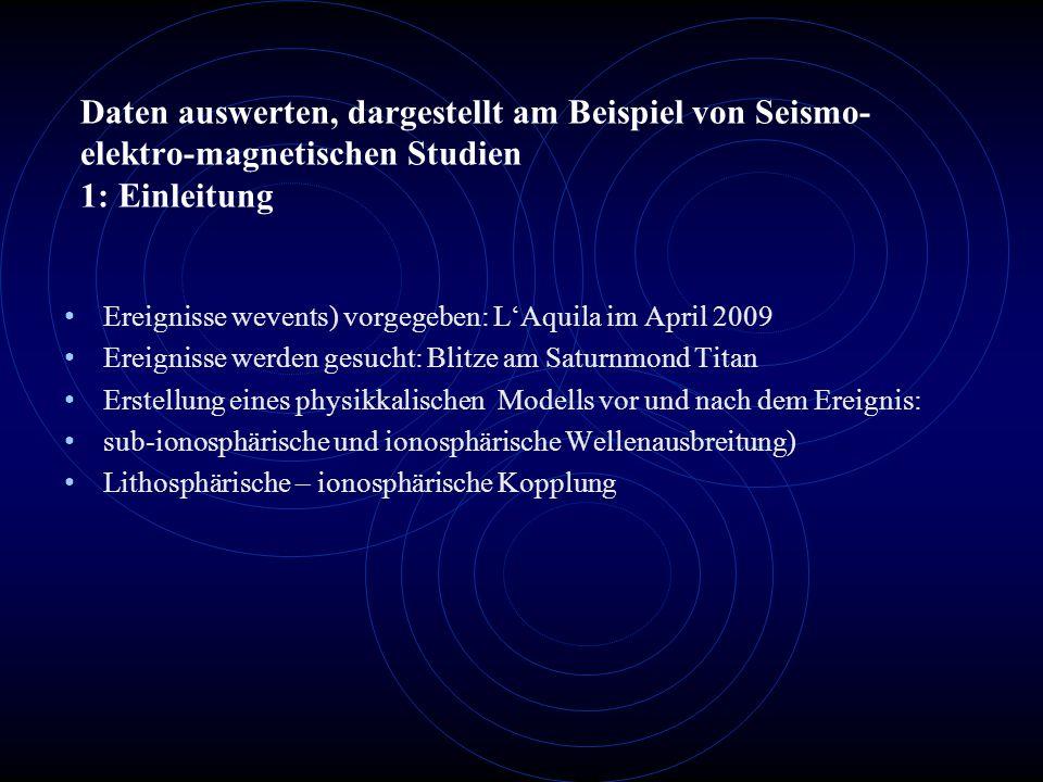 Daten auswerten, dargestellt am Beispiel von Seismo- elektro-magnetischen Studien 1: Einleitung Ereignisse wevents) vorgegeben: L'Aquila im April 2009