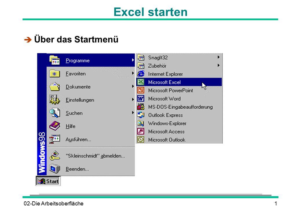 02-Die Arbeitsoberfläche2 Excel starten è Durch Doppelklick auf das Excel-Symbol è Durch Doppelklick auf das Symbol einer Excel-Datei Microsoft Excel