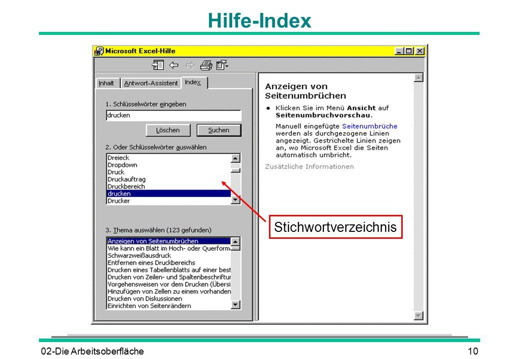 02-Die Arbeitsoberfläche10 Hilfe-Index Stichwortverzeichnis