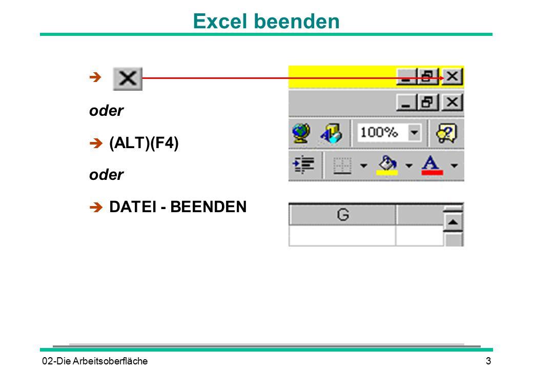 02-Die Arbeitsoberfläche3 Excel beenden è oder  (ALT)(F4) oder è DATEI - BEENDEN