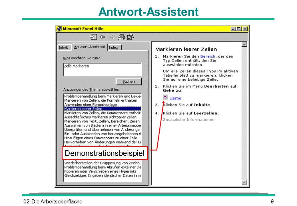 02-Die Arbeitsoberfläche9 Antwort-Assistent Demonstrationsbeispiel
