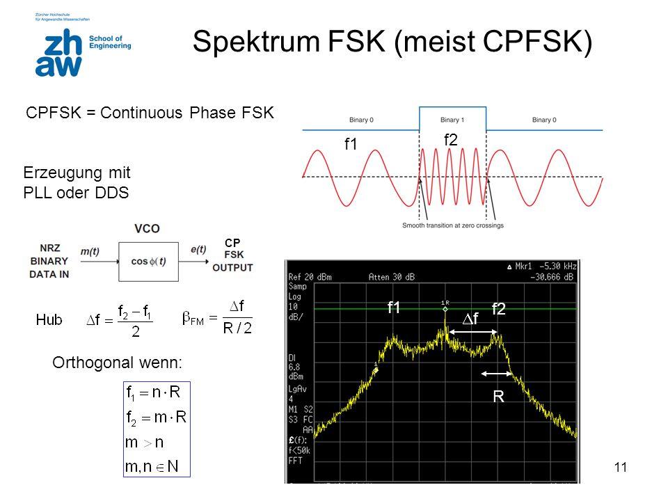 11 Spektrum FSK (meist CPFSK) Erzeugung mit PLL oder DDS CPFSK = Continuous Phase FSK f2 f1 f2 ff R CP Orthogonal wenn: