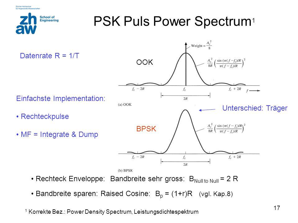 17 PSK Puls Power Spectrum 1 Rechteck Enveloppe: Bandbreite sehr gross: B Null to Null = 2 R Bandbreite sparen: Raised Cosine: B p = (1+r)R (vgl. Kap.