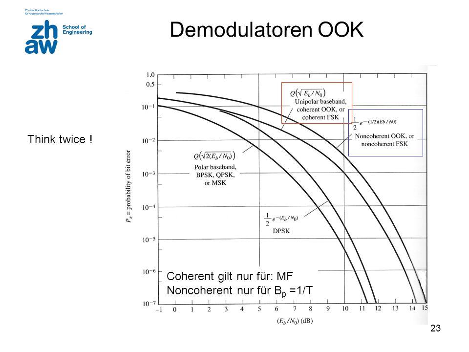 23 Demodulatoren OOK Think twice ! Coherent gilt nur für: MF Noncoherent nur für B p =1/T
