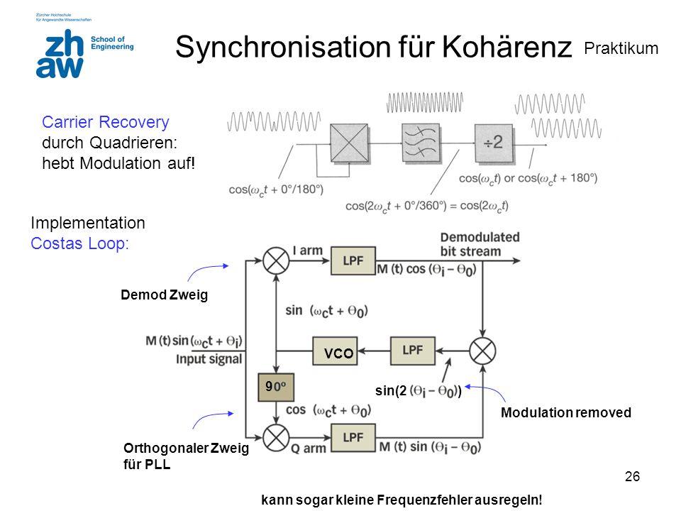 26 Synchronisation für Kohärenz Carrier Recovery durch Quadrieren: hebt Modulation auf! VCO kann sogar kleine Frequenzfehler ausregeln! 9 Modulation r