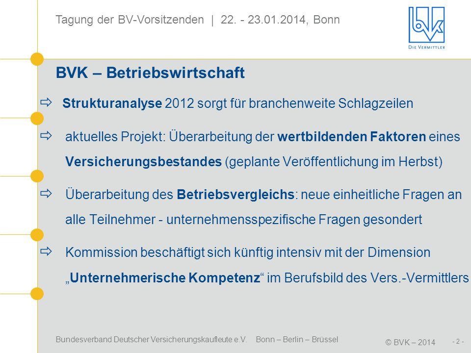 Bundesverband Deutscher Versicherungskaufleute e.V. Bonn – Berlin – Brüssel © BVK – 2014 Tagung der BV-Vorsitzenden | 22. - 23.01.2014, Bonn - 2 - BVK