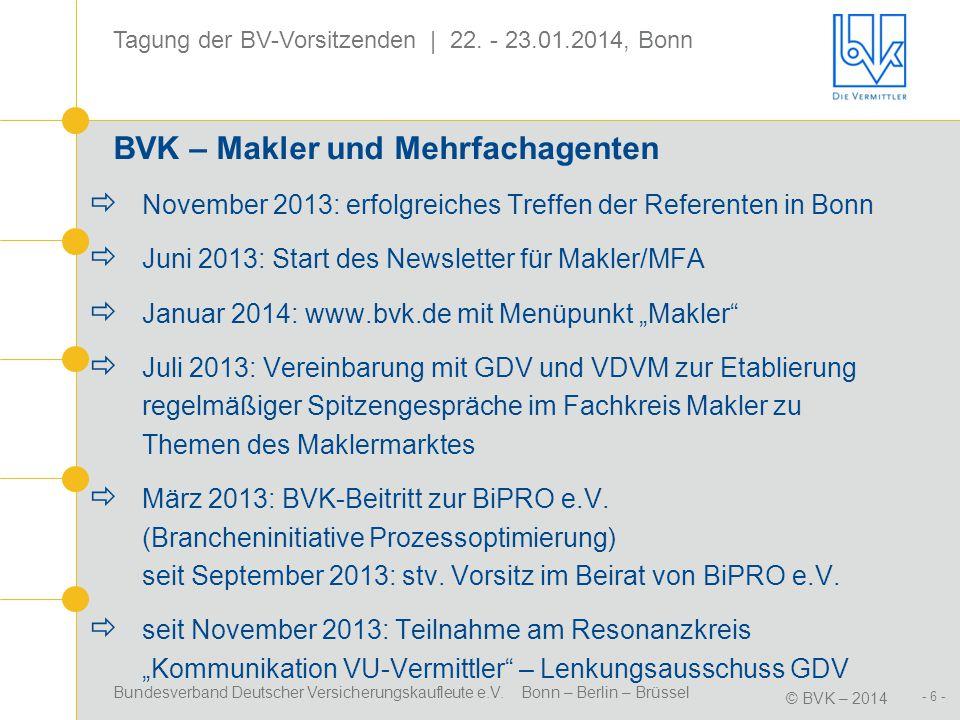 Bundesverband Deutscher Versicherungskaufleute e.V. Bonn – Berlin – Brüssel © BVK – 2014 Tagung der BV-Vorsitzenden | 22. - 23.01.2014, Bonn - 6 - BVK