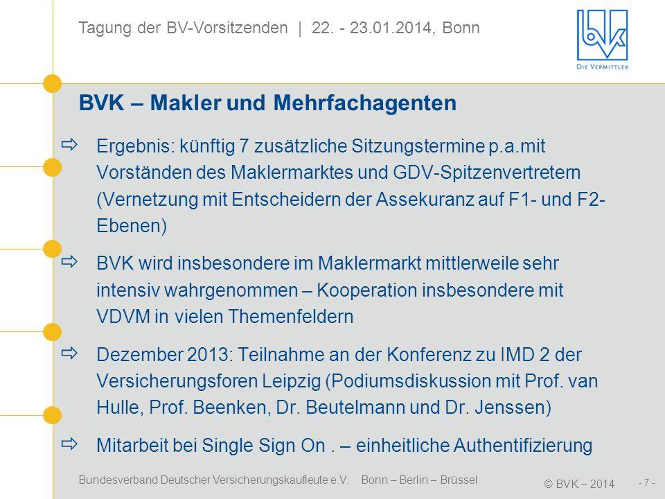 Bundesverband Deutscher Versicherungskaufleute e.V. Bonn – Berlin – Brüssel © BVK – 2014 Tagung der BV-Vorsitzenden | 22. - 23.01.2014, Bonn - 7 - BVK
