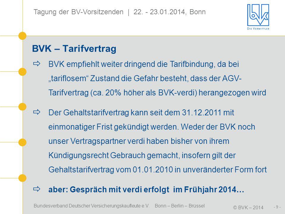 Bundesverband Deutscher Versicherungskaufleute e.V. Bonn – Berlin – Brüssel © BVK – 2014 Tagung der BV-Vorsitzenden | 22. - 23.01.2014, Bonn - 9 - BVK