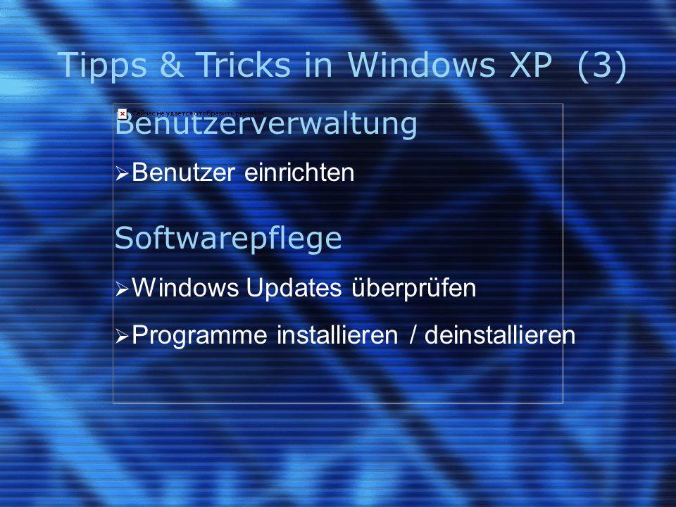 Tipps & Tricks in Windows XP (4) XP - Tastenkürzel (1) KopierenStrg + C AusschneidenStrg + X EinfügenStrg + V RückgängigStrg + Z Ausgewähltes Element unwiderruflich löschen  + Entf Ausgewähltes Element umbenennenF2 Zwischen geöffnetenAlt + Tab vorwärts bzw.