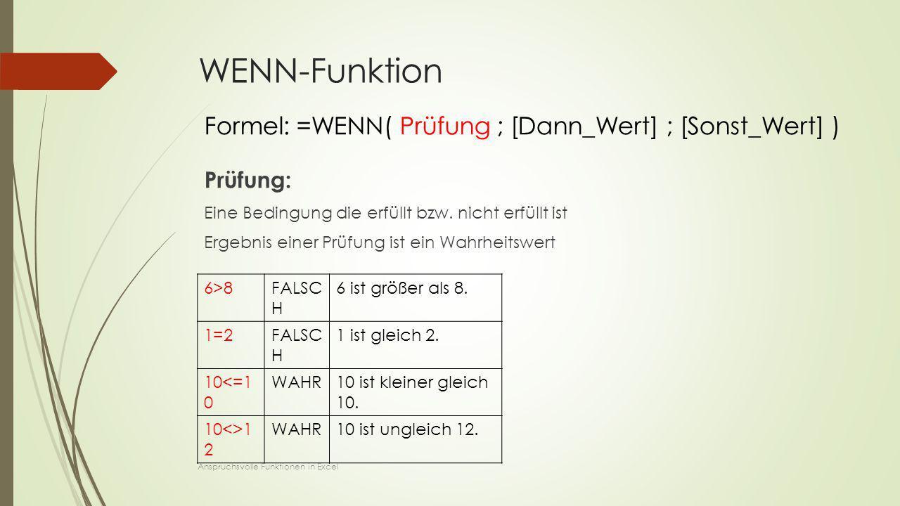WENN-Funktion Prüfung: Eine Bedingung die erfüllt bzw. nicht erfüllt ist Ergebnis einer Prüfung ist ein Wahrheitswert 6>8FALSC H 6 ist größer als 8. 1