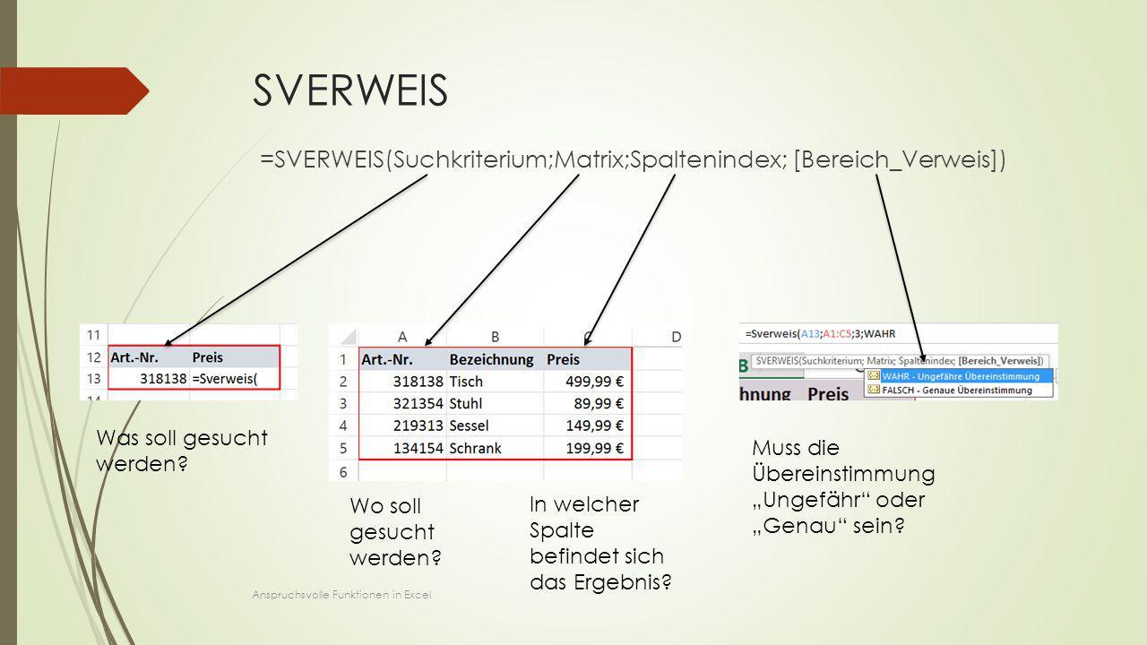 """SVERWEIS =SVERWEIS(Suchkriterium;Matrix;Spaltenindex; [Bereich_Verweis]) Was soll gesucht werden? Wo soll gesucht werden? Muss die Übereinstimmung """"Un"""