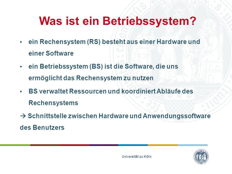 Was ist ein Betriebssystem? ein Rechensystem (RS) besteht aus einer Hardware und einer Software ein Betriebssystem (BS) ist die Software, die uns ermö