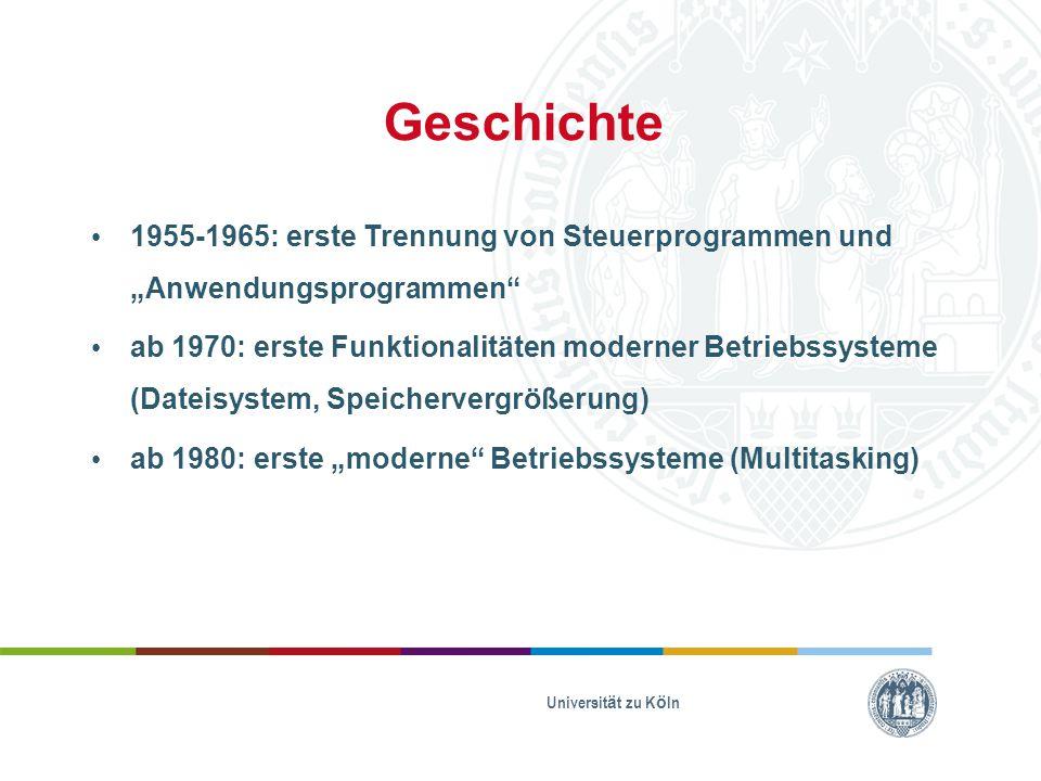 """Geschichte 1955-1965: erste Trennung von Steuerprogrammen und """"Anwendungsprogrammen"""" ab 1970: erste Funktionalitäten moderner Betriebssysteme (Dateisy"""