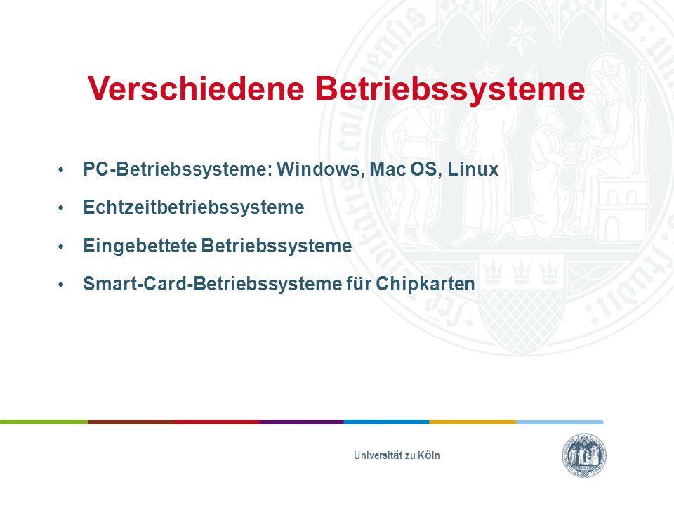 Verschiedene Betriebssysteme PC-Betriebssysteme: Windows, Mac OS, Linux Echtzeitbetriebssysteme Eingebettete Betriebssysteme Smart-Card-Betriebssystem