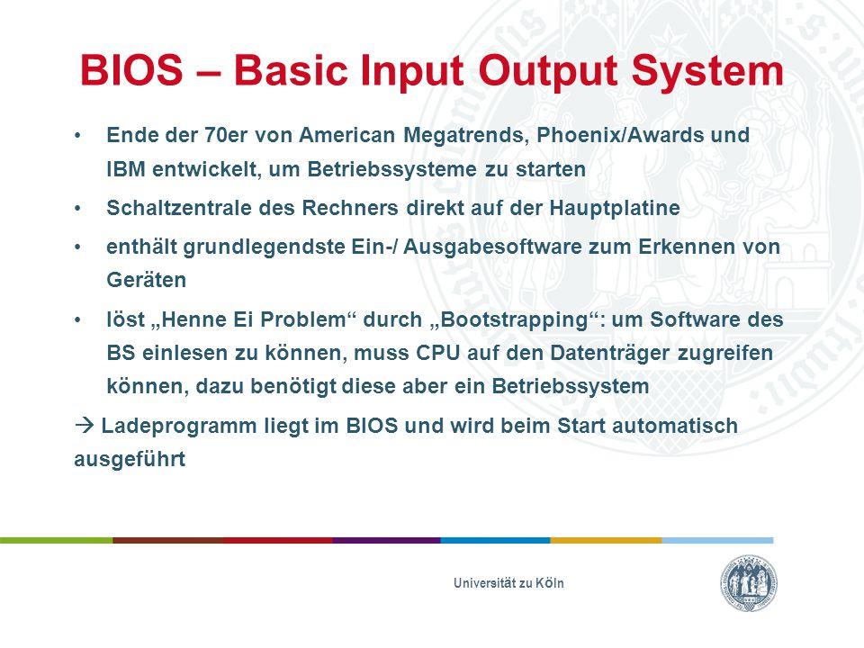 BIOS – Basic Input Output System Ende der 70er von American Megatrends, Phoenix/Awards und IBM entwickelt, um Betriebssysteme zu starten Schaltzentral
