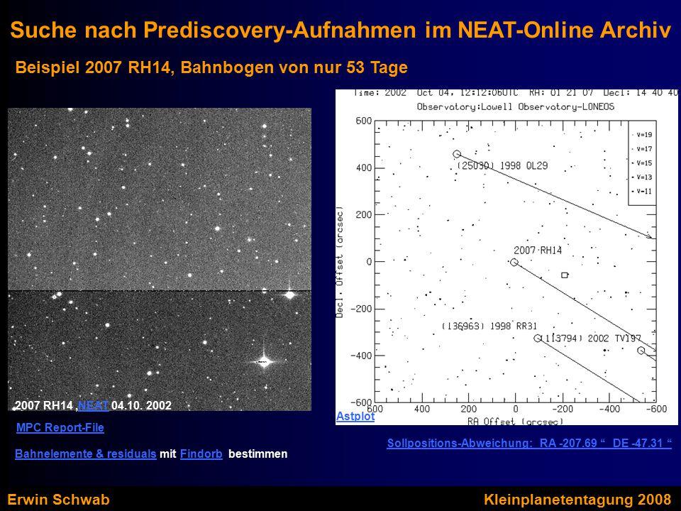 Beispiel 2007 RH14, Bahnbogen von nur 53 Tage Suche nach Prediscovery-Aufnahmen im NEAT-Online Archiv Sollpositions-Abweichung: RA -207.69 '' DE -47.31 '' Astplot 2007 RH14,NEAT 04.10.