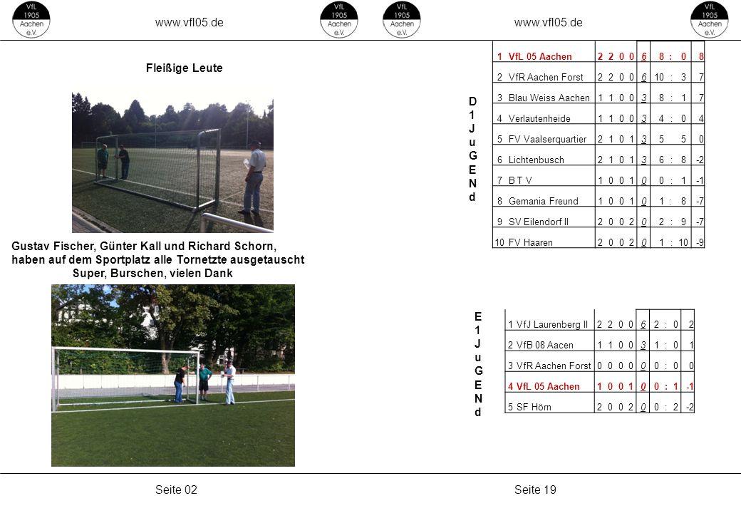 www.vfl05.de Seite 19Seite 02 Fleißige Leute Gustav Fischer, Günter Kall und Richard Schorn, haben auf dem Sportplatz alle Tornetzte ausgetauscht Supe