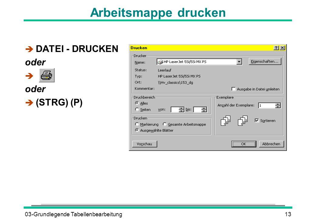 03-Grundlegende Tabellenbearbeitung13 Arbeitsmappe drucken è DATEI - DRUCKEN oder è oder  (STRG) (P)