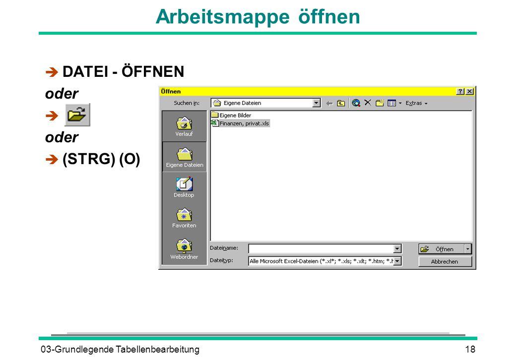 03-Grundlegende Tabellenbearbeitung18 Arbeitsmappe öffnen è DATEI - ÖFFNEN oder è oder  (STRG) (O)