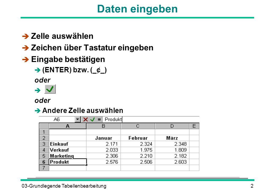 03-Grundlegende Tabellenbearbeitung2 Daten eingeben è Zelle auswählen è Zeichen über Tastatur eingeben è Eingabe bestätigen  (ENTER) bzw.
